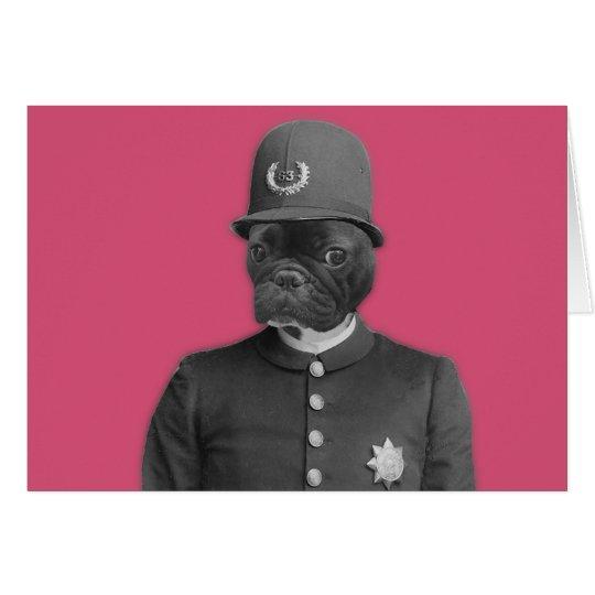 Policía del dogo francés del vintage tarjeta de felicitación