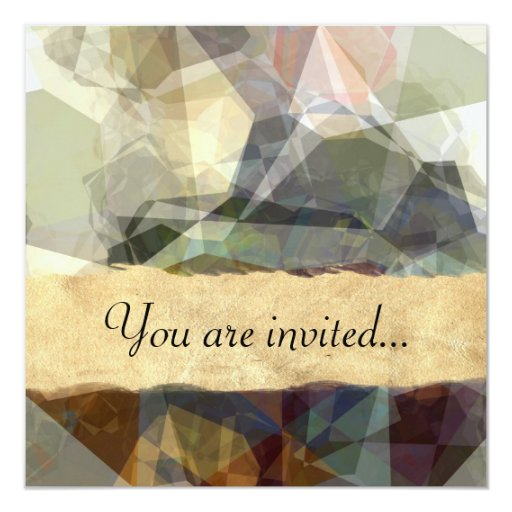 Polígonos abstractos 218 invitación 13,3 cm x 13,3cm