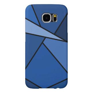 Polígonos azules abstractos funda samsung galaxy s6