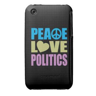 Política del amor de la paz iPhone 3 Case-Mate cárcasa