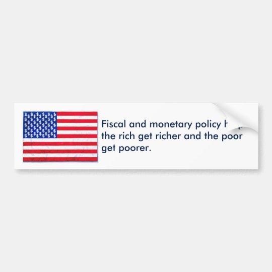 Política fiscal/monetaria pegatina para coche