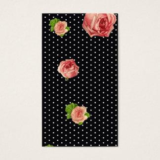 Polkadot blanco y negro floral tarjeta de negocios