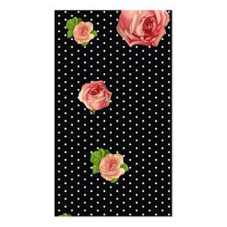 Polkadot blanco y negro floral tarjeta personal