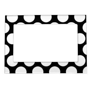 Polkadot blanco y negro marcos magnéticos para fotos