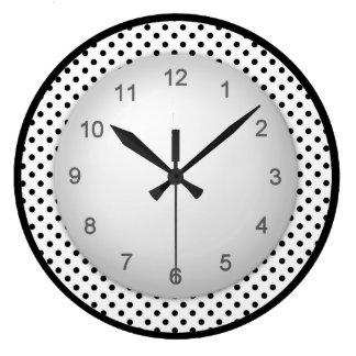 Polkadot moderno blanco y negro reloj redondo grande