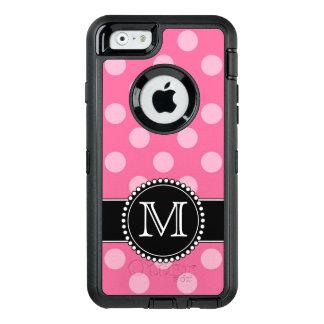 Polkadot rosado, defensor personalizado, con funda OtterBox defender para iPhone 6