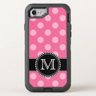 Polkadot rosado, defensor personalizado, con funda OtterBox defender para iPhone 7