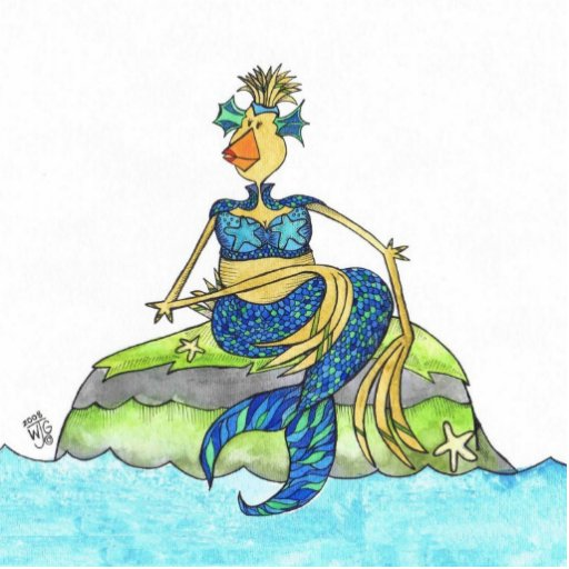 Pollo de la gallina de la sirena del mar esculturas fotograficas