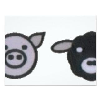 pollo de las ovejas del cerdo de la vaca invitación 10,8 x 13,9 cm