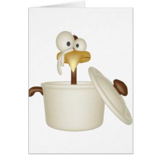 Pollo en tarjeta de felicitación de la sopa