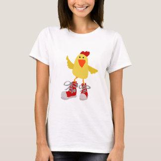 Pollo enrrollado del amarillo del baile camiseta