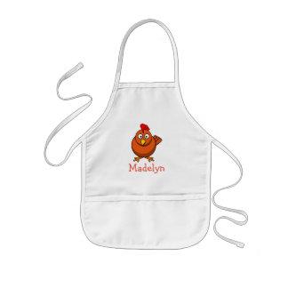 Pollo lindo del dibujo animado personalizado con delantal infantil