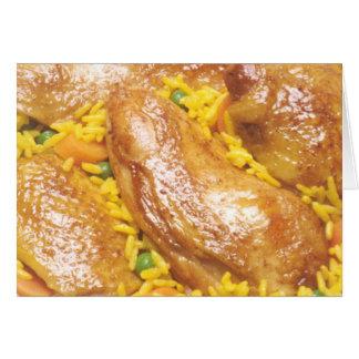 Pollo y arroz tarjeta