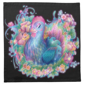 Pollo y flores hermosos servilleta de tela