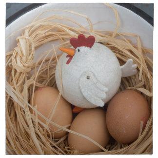 Pollo y huevos servilleta de tela