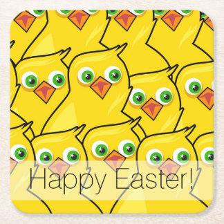 Pollos amarillos brillantes preciosos de Pascua Posavasos De Papel Cuadrado
