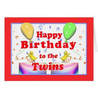 Pollos del feliz cumpleaños para los gemelos tarjeta de felicitación
