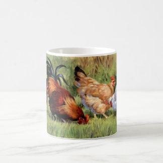 Pollos en una fila taza de café