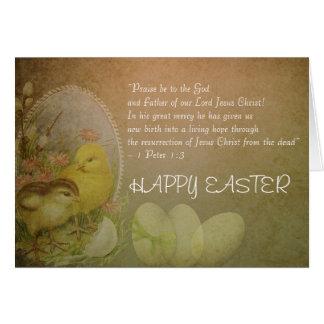 Pollos felices cristianos del verso de la biblia tarjeta de felicitación