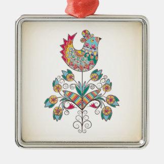 polluelo de la Boho-moda en la flor Adorno Navideño Cuadrado De Metal