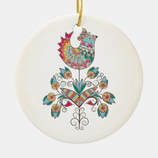 polluelo de la Boho-moda en la flor Adorno Navideño Redondo De Cerámica