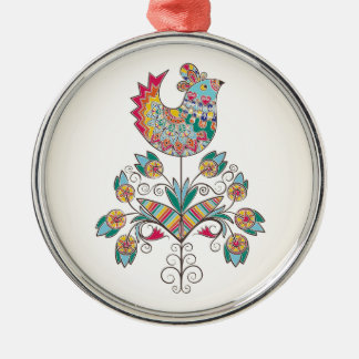 polluelo de la Boho-moda en la flor Adorno Navideño Redondo De Metal