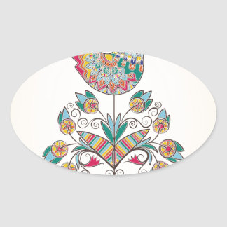 polluelo de la Boho-moda en la flor Pegatina Ovalada