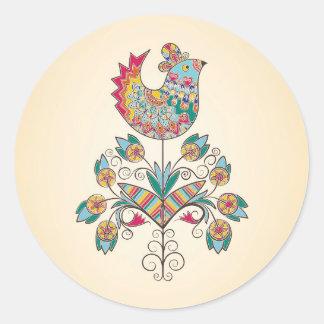 polluelo de la Boho-moda en la flor Pegatina Redonda