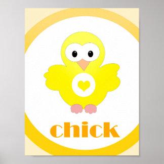 polluelo del animal del campo del cuarto de niños póster