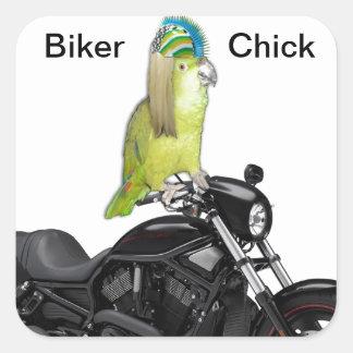 Polluelo del motorista del loro en Harley Davidson Pegatina Cuadrada