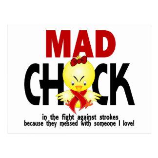 Polluelo enojado en el movimiento de la lucha postal