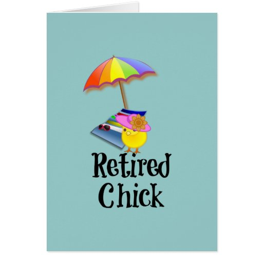 Polluelo jubilado, humor del retiro tarjetas