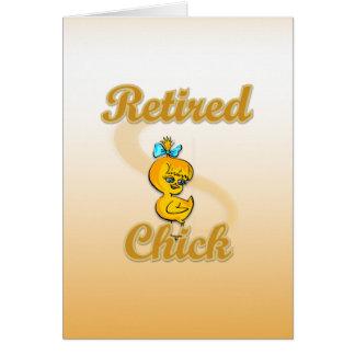 Polluelo jubilado tarjeta de felicitación