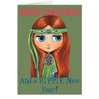 Polluelo lindo del Hippie en navidad verde del Tarjeta De Felicitación