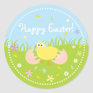 Polluelo lindo feliz del bebé de Pascua Pegatina Redonda