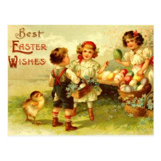 Polluelos antiguos de los niños de la postal de