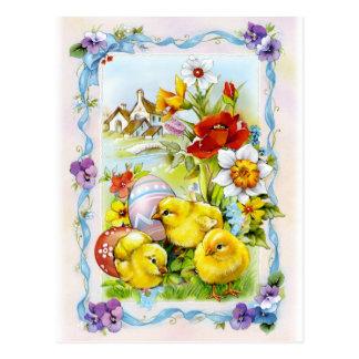 Polluelos de Pascua del vintage Postal