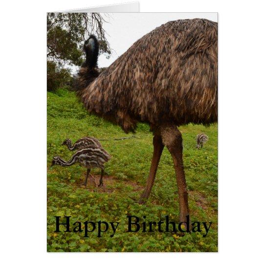 Polluelos del Emu del papá y del bebé, tarjeta de