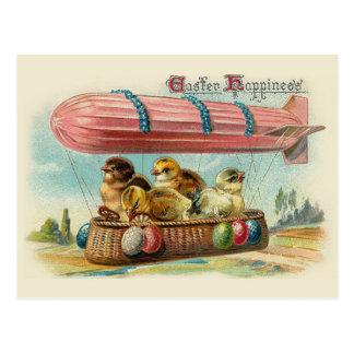 Polluelos en el vintage rosado Pascua del Postal