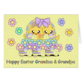 Polluelos lindos de Pascua de la abuela y del abue Tarjeta De Felicitación