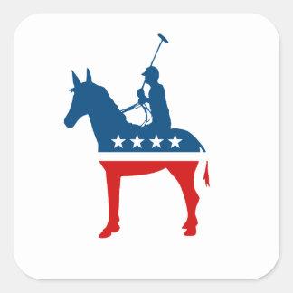 Polo de Demócrata Calcomania Cuadrada Personalizada