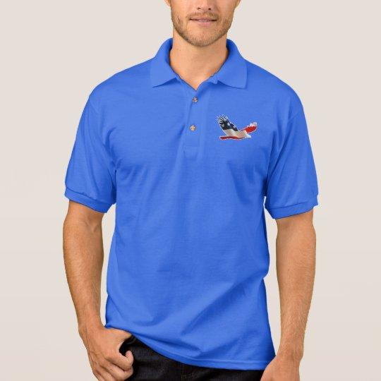 Polo Eagle calvo americano en colores de la bandera de