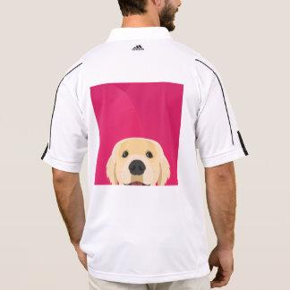 Polo Ilustracion Retriver de oro con el fondo rosado