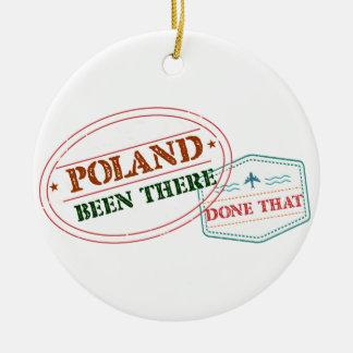 Polonia allí hecho eso adorno navideño redondo de cerámica