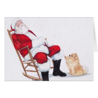 Pomeranian y tarjeta de Navidad del arte del perro