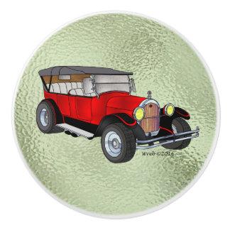 Pomo De Cerámica 1923 Olds que viaja, rojo -