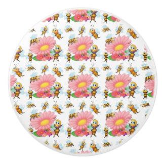 Pomo De Cerámica Abejas que vuelan alrededor de las flores de la