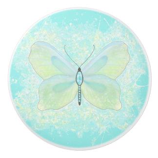 Pomo De Cerámica Aguamarina y mariposa de la cal con el cuerpo