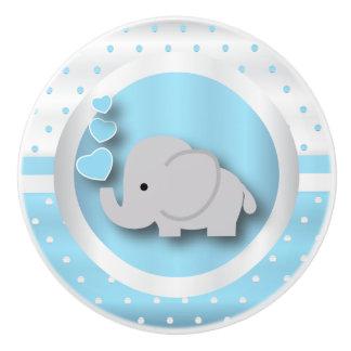 Pomo De Cerámica Azules cielos, blanco y elefante del modelo de