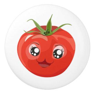 Pomo De Cerámica Botón de cerámica blanco del tomate rojo del